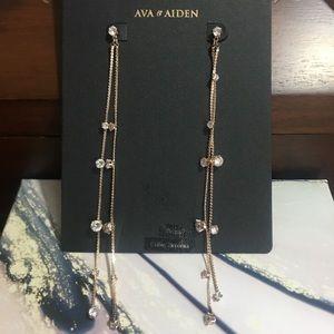 Saks Ava & Aiden Long Strand Crystal Stud Earrings